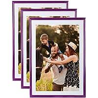 Juego de 3 marcos de fotos A4 color morado (21 x 29.7 cm) – Marco de fotos (resina con cristal de cristal de protección – incluye pie caballete y ganchos ...