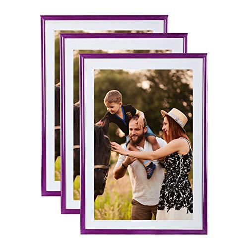 Set di 3 portafoto A4 Viola - (21x29.7 cm) - Cadre photo en résine avec vitre en verre de protection - Livré avec pied chevalet et crochets pour fixation au mur. Idéal pour photo, diplômes, publicité....