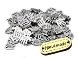 50 Stück Hand Made silberfarben Metall Knopf Label Anhänger Hand Schild Charm zum annähen, incl. 1 Stück Holzlabel Hand Made Schmuckperlen Bastelperlen (silberfarben)