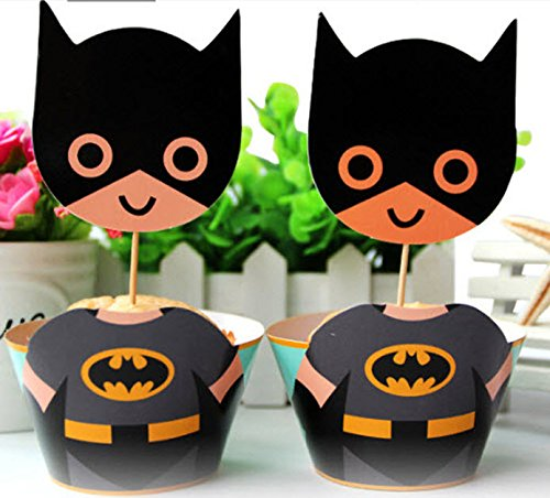 12x Batman fiesta tarta de cumpleaños Cupcake Wrapper), color negro