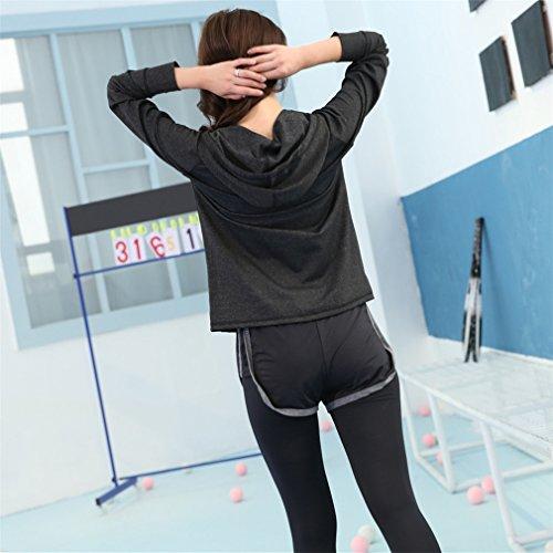 REALLION Set da yoga da donna 3 pezzi (giacca + reggiseno sportivo + pantaloni) Abbigliamento sportivo da palestra fitness ad asciugatura rapida Grigio e nero