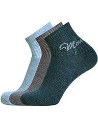 Montebello Unisex Woolen Ankle Socks (Set of 3, Multi-Coloured)