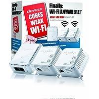devolo dLAN 500 Wi-Fi Powerline Network Kit (500 Mbps, 3 x PLC Homeplug Adapter, 1 x LAN Port, WiFi Signal Booster, Wireless Extenders, Wi-Fi Move, whole home wifi, Power Save) - White