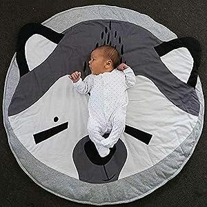 JYCRA Runder Teppich, Cartoon-Tier-Teppich, Baby-Baumwolle, Krabbelteppich, Spieldecke für Schlafzimmer, Wohnzimmer…