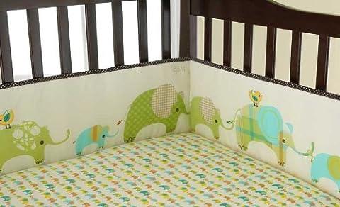 Laura Ashley Elephant Parade 4 Piece Crib Bumper by Pem America (English Manual)