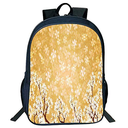 HOJJP Schultasche Stylish Unisex School Students Floral Decor,Trees Blossoms Buds Flowers Spring Season Pedals Bodies in Wind Image,Yellow White Kids, White Pedal Bin
