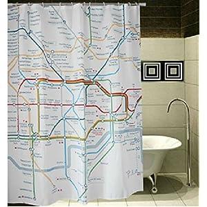 Winterworm Vintage mapa de metro de Londres cortina de ducha con 12ganchos para baño