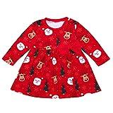 Babykleider,Sannysis Baby Mädchen Festlich Kleid Langärmeliges Weihnachtskätzchen Santa Print Rock Dress