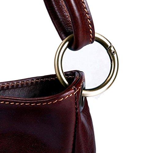 MICHELANGELO Fatto a mano in Vera Pelle Italia - Borsa Shopper con anello in Pelle 34x11 H28 cm Cuoio