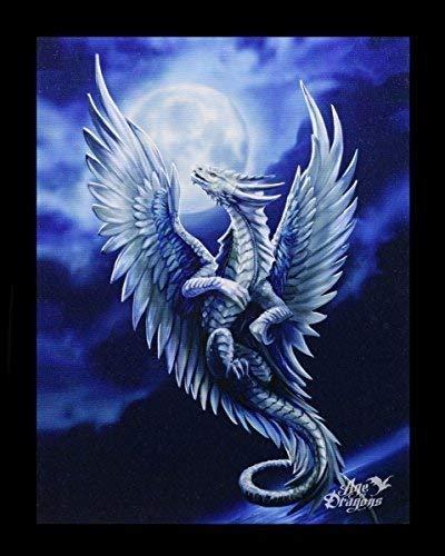 Kleine Leinwand Silberdrache | Silver Dragon 25 x 19 cm | Anne Stokes Age of Dragons | Drache Fantasy Bild Poster (Drachen Poster)