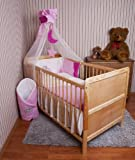Amilian® Baby Bettwäsche Himmel Nestchen Bettset MIT STICKEREI 100x135cm Neu für Babybett Elefant rosa Chiffonhimmel