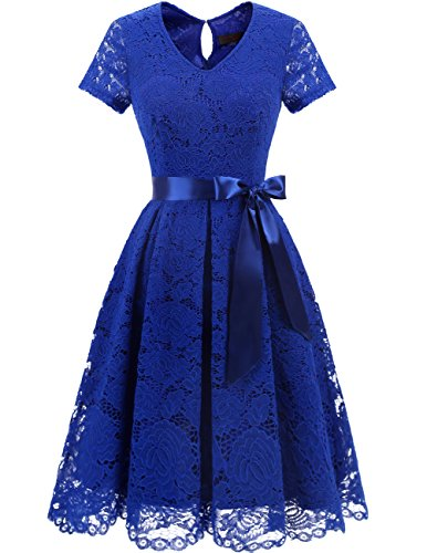 Dresstells Damen Spitzenkleid Herzform Elegant Cocktail Abendkleid Royal Blue M