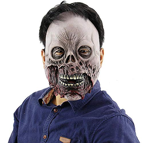 Circlefly Rotten Mund Halloween Zombie Horror Schädel Maske unheimlich Spukhaus entweichen Verkleiden Kostüm Erwachsene Latex Perücke (Für Kinder Zombie-kostüme Unheimlich)
