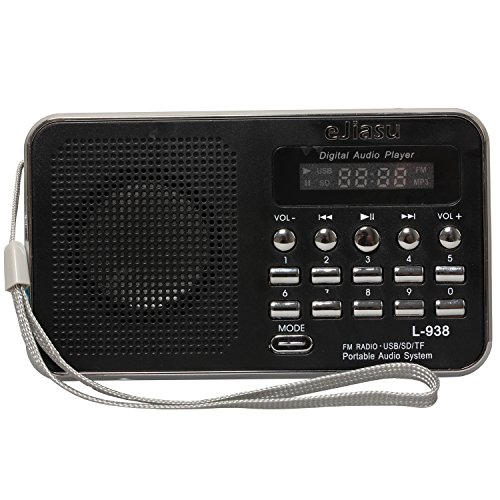 eJiasu Multifunktions-Mini-Digital-bewegliches FM Radio-Empfänger-Unterstützung MP3-Musik-Spieler TF/SD-Karte/USB-Anschluss/LED-Screen-Display/Taschenlampe / Akku-/Kopfhörer-Ausgang /Audio intput / Lanyard für PC iPod iPhone (schwarz) Sony Heim-lautsprecher