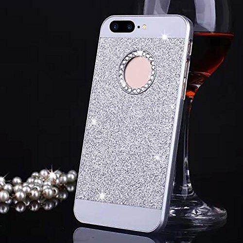 Cuitan PC Glitter Housse Case pour Apple iPhone 7 (4,7 Inch), avec Diamant Strass Sparkle Bling Shiny Retour Housse Back Cover Protecteur Etui Coque Cover Shell pour iPhone 7 (4,7 Inch) - Argent Argent