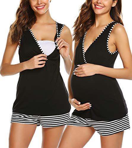 Umstands Pyjama kurz schwarz