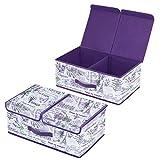 Homyfort 2 Stück Faltbare Kleider Aufbewahrungs-Container für Kleiderschrank, Abnehmbare Doppel-Fächer Design Aufbewahrungsbox mit Deckel, Leinen Vliesstoff, Magnet schließt, 50 x 30 x 20cm, Lavendel, XLVB2L2
