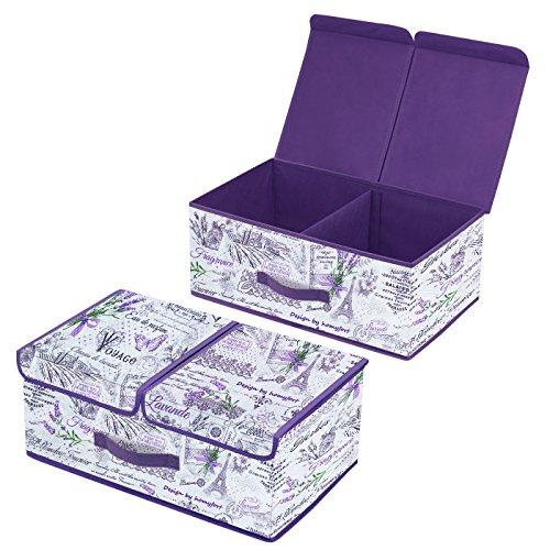 Homyfort 2 Stück Faltbare Kleider Aufbewahrungs-Container für Kleiderschrank, Abnehmbare Doppel-Fächer Design Aufbewahrungsbox mit Deckel, Leinen Vliesstoff, Magnet schließt, 50 x 30 x 20cm, Lavendel, XLVB2L2 (Doppel-kleiderschrank)