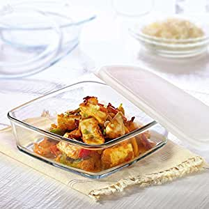 Borosil Square Dish with Lid Storage, 1.6 Litres
