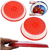 Heat & Eat Microwave Plate Cover/Colander/Strainer, Red/Blue