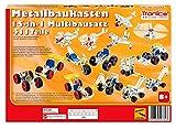 Metallbaukasten Bausatz 15 XL Modelle 15-in-1 Baufahrzeuge 411 Teile Baustelle Flugzeug Fahrzeuge Auto LKW 4-farbige Aufbauanleitung Werkzeug ab 8 Jahren Starter Set Multibaukasten Multi-Model Tronico