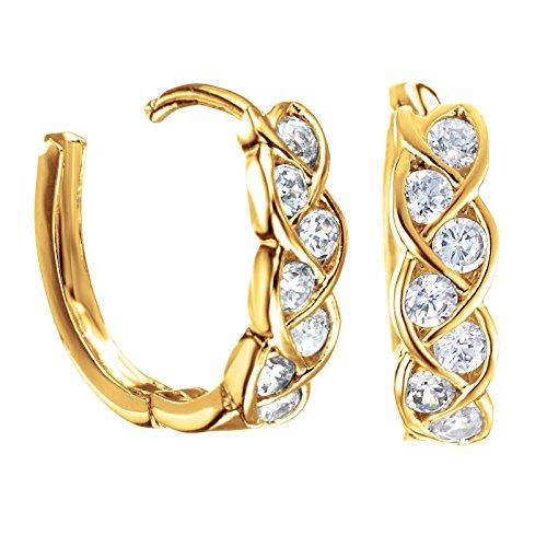 Gemini Ohrstecker (Gelb Gold), attraktive Glitzer & Strass Elemente mit Kristall Steinen, Luxus Design, Rundform, für jeden Anlass, beliebt bei Girls & Damen, 0,6 cm Durchmesser