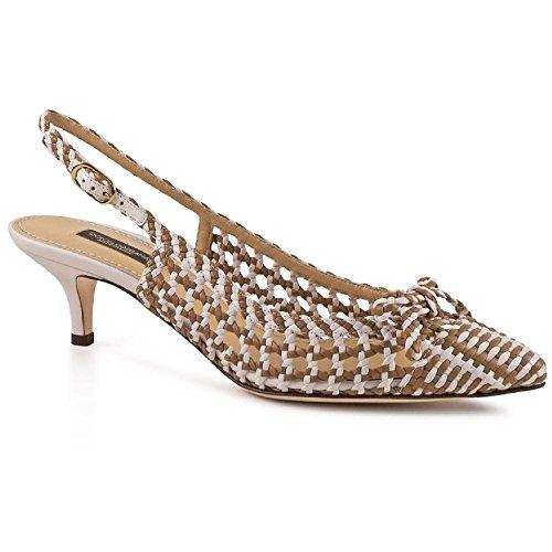 Sandales à bride arrière Dolce&Gabbana en peau d'agneau beige/blanc - Code modèle: C15255 AP019 8D084 Marron Clair