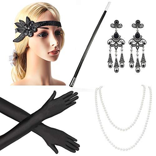 Beelittle 1920er Jahre Zubehör Set Flapper Stirnband, Halskette, Handschuhe, Zigarettenspitze Great Gatsby Zubehör für Frauen (F2)