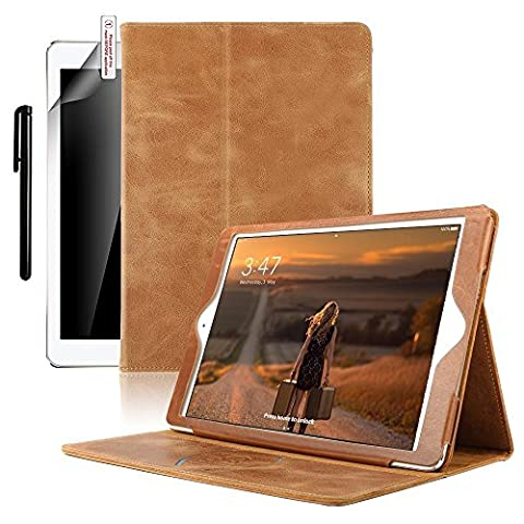 iPad Air 2 Case, Boriyuan Genuine Leather Folio Smart Cover with Built-in Magnet for Sleep/Wake Feature Protective Case for Apple iPad Air 2,