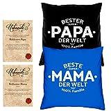 Soreso Design Hochzeitstag Geschenk für Mama und Papa -:- 2 Kissen mit Füllung plus 2 Urkunden im Set -:- Beste Mama der Welt in royal-blau - Bester Papa der Welt in schwarz
