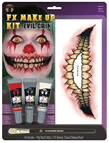 Fancy Me Tattoo-Set für Erwachsene, Teenager, für Tattoos, Halloween, Horror-Zubehör, mit Pinsel, One Size, Evil Smile (Horror Charakter Kit)