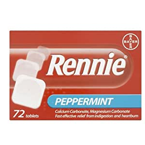 Rennie Indigestion and Heartburn Tablets Peppermint - 72 Tablets