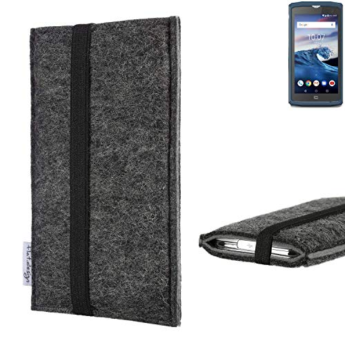 flat.design Handyhülle Lagoa für Crosscall Core-X3 | Farbe: anthrazit/grau | Smartphone-Tasche aus Filz | Handy Schutzhülle| Handytasche Made in Germany