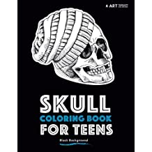 Skull Coloring Book For Teens: Black Background