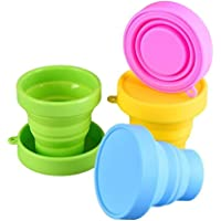 Collapsible Cup Compact Silicone, Reusable Food Grade Folding Mug with Lids, Expandable Retractable Drinking Set…