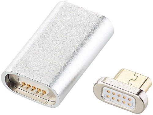 Callstel Magnet Ladekabel: Magnetischer Micro-USB-Adapter für Lade- und Datenkabel, silber (USB Kabel mit magnetischen Micro USB Steckern)