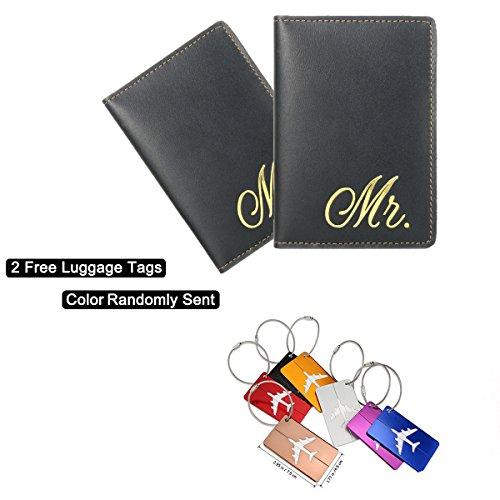 Leathereal Custodie Passaporto Elegante e anti RFID Pelle di Grano Pieno Porta Passaporto con 4 aperture per carta di credito da viaggio uomo e donna. (Couple)