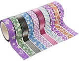 #7: PIGLOO Colourful Decorative Adhesive Glitter Tape Rolls, Length 5m Each, Set of 10