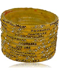 Sylque Bright And Beautiful Yellow Glass Bangles With Golden And Silver Nagh