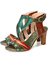 gracosy Sandali in Pelle da Donna Tacco Spesso Scarpe estive Peep Toe  Cinturino alla Caviglia Abiti 182c56b46e7