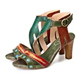 gracosy Damen Sandalen Leder Pumps, 2018 Sommer Sandalen Mode Stromlinienförmiges Design Plateau Sandaletten mit Blockabsatz Schnalle Slingback Riemchensandalen High Heels