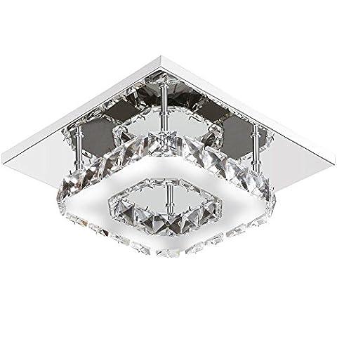 12W LED Deckenleuchte Modern Flush Mount Kristall Deckenleuchte Fassung, Edelstahl Kronleuchter Deckenleuchten für Flur, Gang, Veranda, Schlafzimmer (weißes Licht)