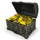 TOYMYTOY Mini Piraten Schatzkiste Box mit 100 Goldmünzen, 100 Edelsteine Diamanten, 2 Ohrring, 2 Ringe
