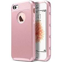 ULAK -Carcasa iPhone 5 /5s/se funda caso de silicona TPU de doble espesor y protector de pantalla para iPhone 5 / 5S/se (Rosa Oro)