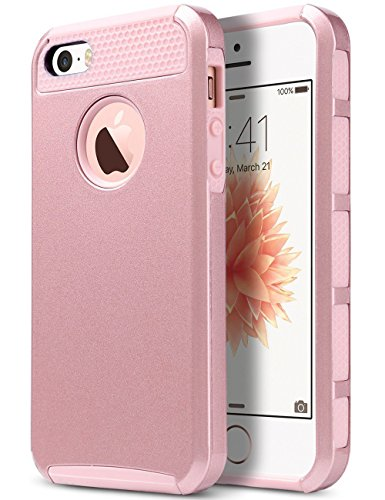 iPhone 5S Case, iPhone SE Case ULAK iPhone 5 Case Slim Fit Dual Layer Hybrid Hard PC + TPU Protective Cover for Apple iPhone 5/5S/SE (Rose Gold)