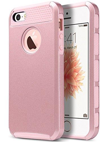 iPhone 5s SE Hülle, ULAK iPhone 5S Case Dual Layer Hybrid Schutzhülle Hart PC + TPU Weiche Stoßfest Tasche Case Cover für Apple iPhone 5/5S/SE (Rosé Gold)