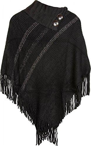 styleBREAKER Strick Poncho mit glänzenden Metallic Streifen und Fransen am Saum, Stehkragen mit Knöpfe, Damen 08010033, Farbe:Schwarz