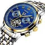 LIGE Herren Uhren Wasserdichte Sport Automatik Mechanisch Business Analog Volle Stahl Blau Armbanduhr 9840