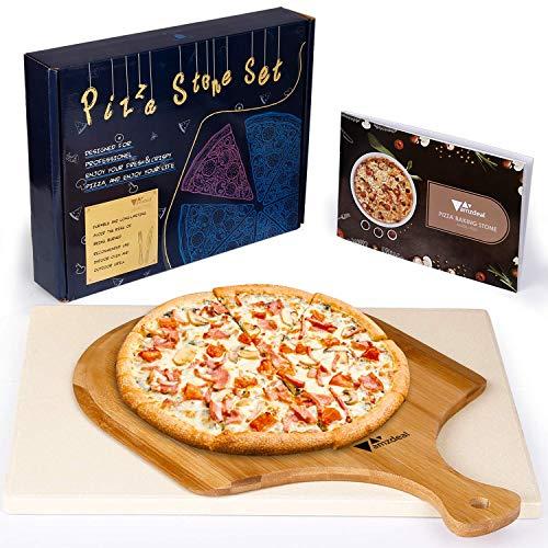 Amzdeal Juego de Piedra para Pizza y Pala - Piedra deCordierita para Horno con Pala de Bambú, Bandeja...
