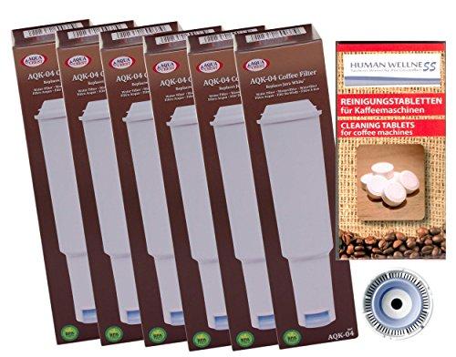 6 x Filterpatrone AquaCrest kompatibel Jura Claris white + 10 Reinigungstabs